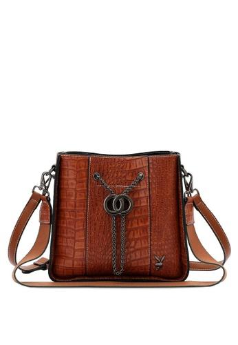 PLAYBOY BUNNY brown Croc Effect Slouch Sling Bag 07314ACBB98FB7GS_1