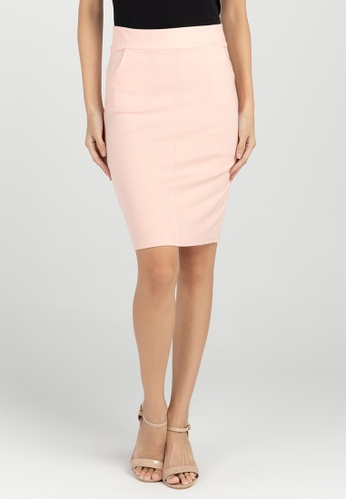 BA&DO pink Dracey Pencil Skirt with Pockets 7F663AA8307384GS_1