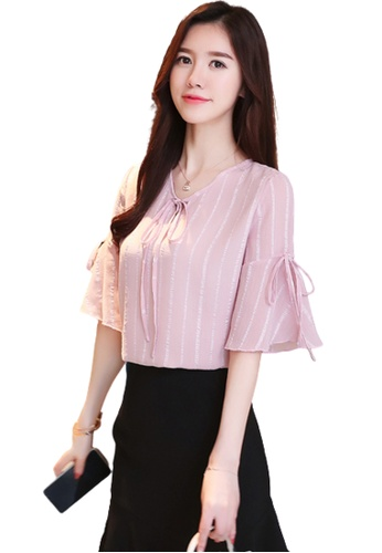 Halo pink Flared Sleeves Blouse B0459AAF1AE205GS_1