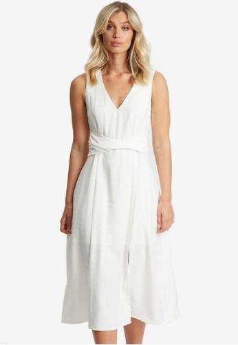 Willa white Iris Twist Belt Midi Dress 4B266AA11E8974GS_1