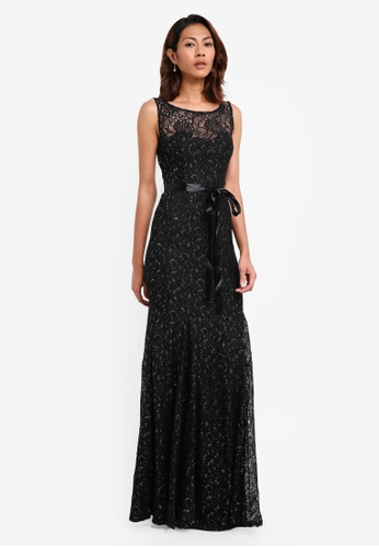 Goddiva black Open Back Lace Maxi Dress With Ribbon Tie F36EEAACA2B60CGS_1