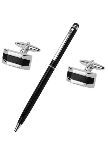CUFF IT black Black Onyx Semi-precious Stone Cufflinks and Pen Set 2808DAC519E611GS_1