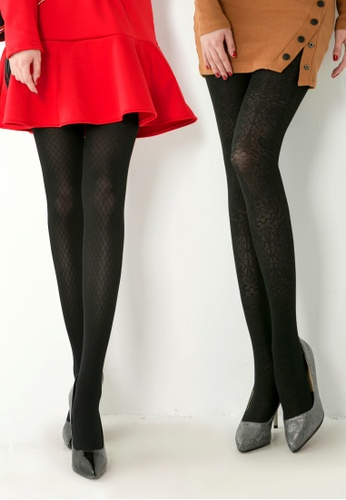 289ba280f462f RISING STAR black 100D Black Rhomb Pattern Pantyhose / 100D Black Totem Pattern  Pantyhose (Combination
