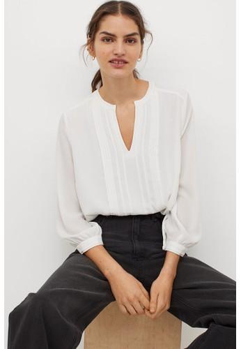 H&M white Pin-tuck blouse DEE18AAE850C7DGS_1