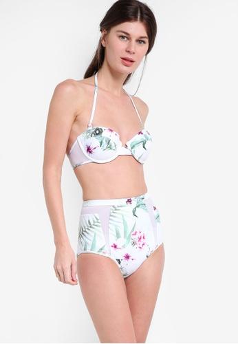 Malibu Beachwear white and multi Coupe Bandeau Pin-Up Bikini Set (Fuller Bust) MA709US03JAQMY_1