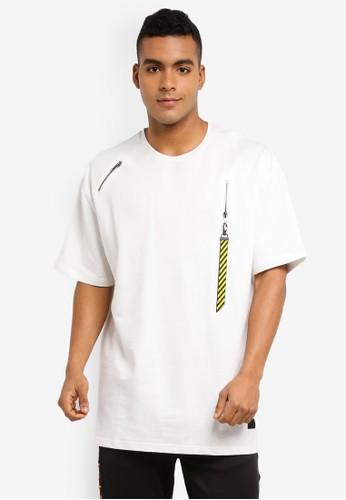 Flesh IMP white Valkyrie Zipper Hook Oversized T-Shirt 468EEAAFC1DBB0GS_1