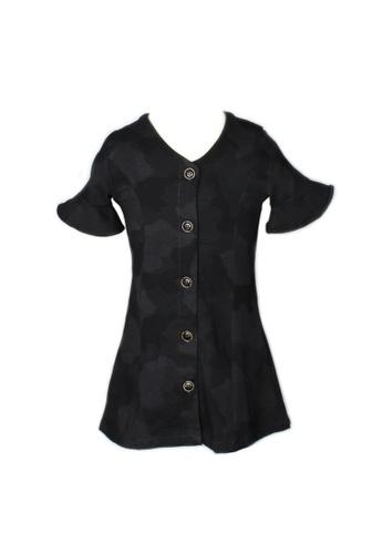 Mini Moley black Black Camo Print Button Down Girl's Dress 93894KA9DB6C75GS_1