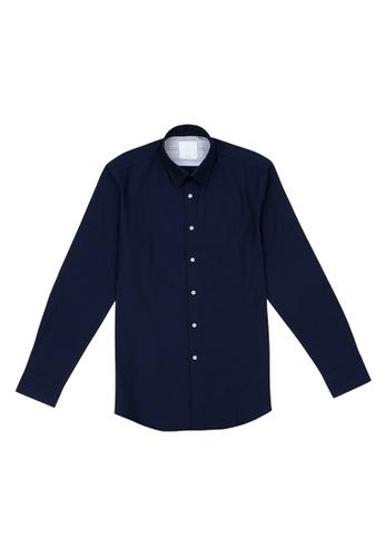 Benjamin Barker navy Furnival St Textured Navy Shirt 005F7AA74A3299GS_1