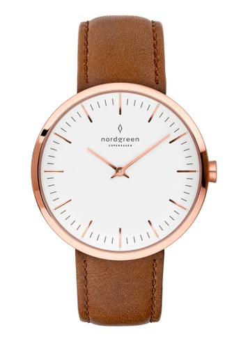 Nordgreen brown and gold Nordgreen Infinity Rose Gold 32 mm - Brown Leather Watch 7B401ACF3B7AE1GS_1
