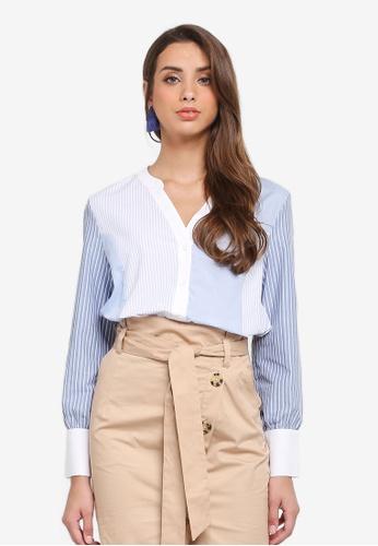 River Island white and blue Mix Stripe Long Sleeve Shirt B8CA7AA682488CGS_1