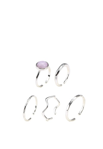 GLOBAL WORK purple and silver 5-Pack Rings CAD54AC1FD1CFAGS_1
