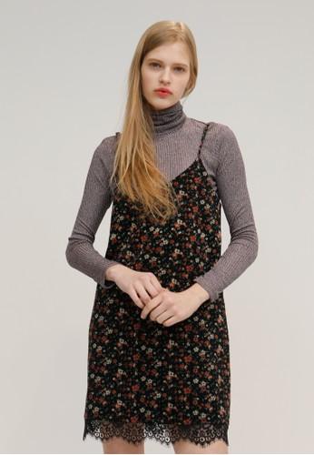 印花图案摆蕾丝吊带裙, 服飾, esprit旗艦店洋裝