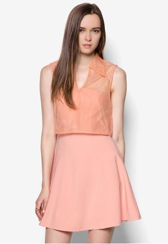 薄紗esprit 澳門短版襯衫平口洋裝, 服飾, 洋裝
