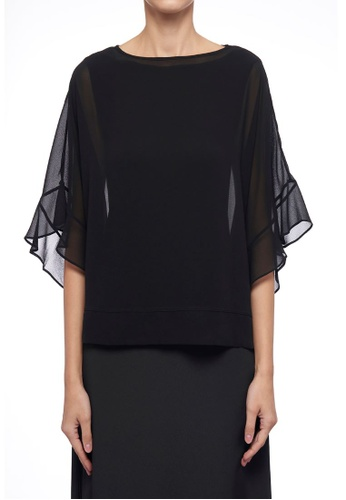 CK CALVIN KLEIN black Light Drape Jersey With Poly Georgette Top F81D3AA0A405F1GS_1
