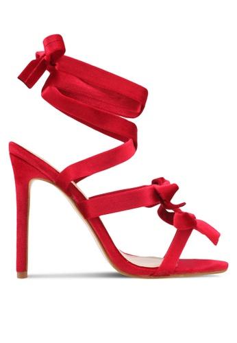 Public Desire red Bedlam Bow Detail Wrap Around Heels PU378SH0SIPBMY_1