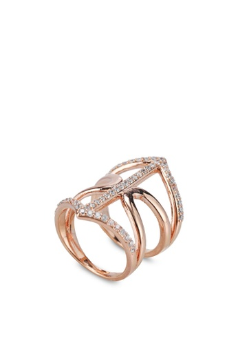 Buy Wanderlust Co Geo Armour XL Crystal Rose Gold Ring line on
