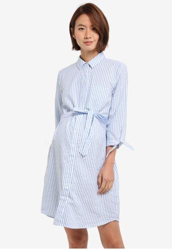 Dorothy Perkins blue Maternity Self Tie Shirt Dress B2126AADA158C5GS_1