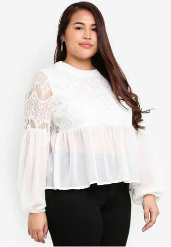 MISSGUIDED white Plus Size Lace Detail Top 1EE4CAAA410477GS_1