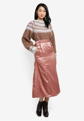 Heather pink Shoulder Straps Midi Skirt BD3B8AAD9926C1GS_1