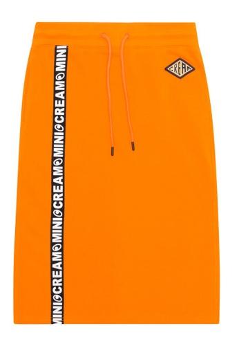 Mini cream orange Logo taped sweat skirt 8AF37AAF87DBA8GS_1