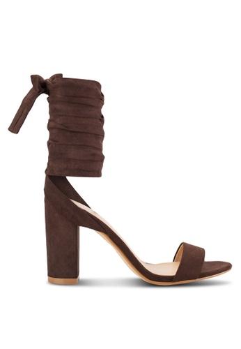 ZALORA brown Tie Up Heel Sandals 64EB3SH4A444E6GS_1