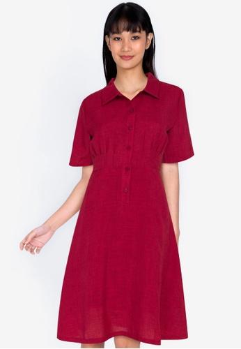 ZALORA BASICS red Pleated Detail Dress D1C70AA9B66913GS_1