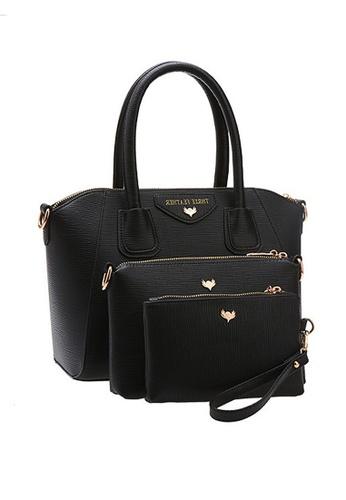 LULUGIFT black Juicy Black Europe Brand PU Leather Shell 3in1 Bag LU989AC85UZMMY_1