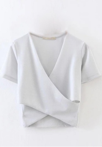 Sunnydaysweety white Simple Net Colour Fit Style Top C030905GYW E00B4AA1109C12GS_1