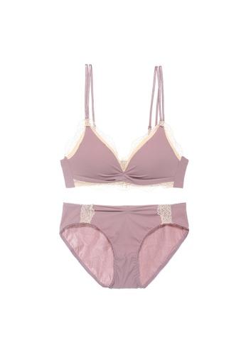 Midnight 紫色 Premium Lace Purple Lingerie Set (Bra and Underwear) 9F068USD283E7FGS_1