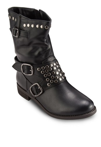 針扣鉚釘飾esprit hk store短靴, 女鞋, 鞋