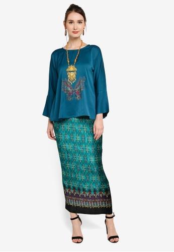 Yans Creation green and blue Kurung Kekupu ED1D5AA6D37BFBGS_1