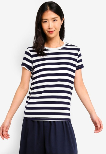 ZALORA BASICS navy Basic Rolled Sleeves Crew Neck T-Shirt 3F666AAEA563DBGS_1