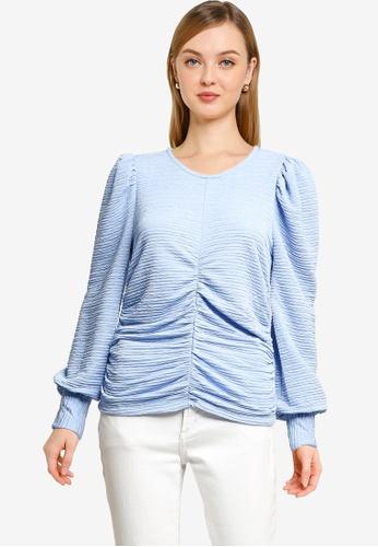 Vero Moda blue Joceline Long Sleeve Ruching Top 06447AA2AC3A25GS_1