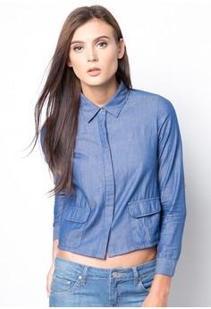 Collar Boxy Denim Shirt