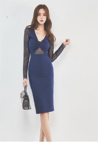 2d39c3a9a96 Crystal Korea Fashion blue Sexy V-neck Lace Perspective Long-sleeve Dress  CR681AA2V5BZHK 1. CLICK TO ZOOM
