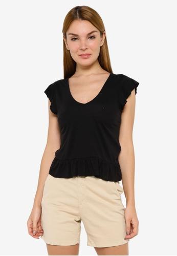 JACQUELINE DE YONG black Ditte Short Sleeve V-Neck Top 94A0FAAB40C38BGS_1