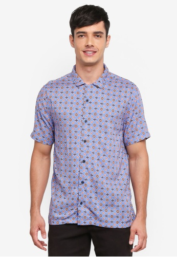 Topman blue Blue And Orange Geometric Shirt DEDABAAA9328B3GS_1