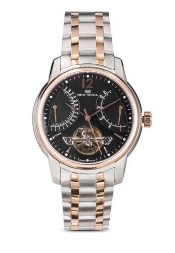Seagull 217.426 (ST2505 機械機芯) 41mm 黑錶esprit 工作盤金邊不銹鋼鏤空圓錶, 錶類, 飾品配件
