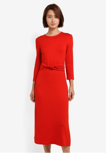 WAREHOUSE red Twist Belt Midi Dress AA6D7AA5A1C9FFGS_1