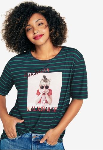 b1be338ce404f Violeta by MANGO blue and navy Plus Size Metallic Print T-Shirt  B1E20AA99E1421GS 1