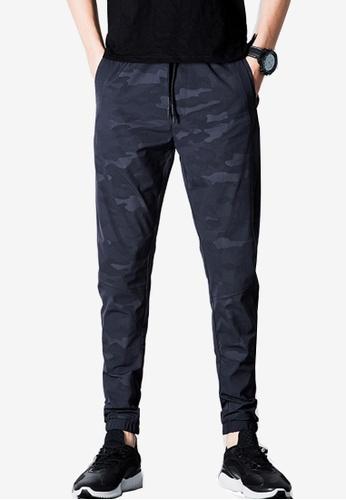 hk-ehunter 藍色 迷彩繫繩有彈性的面料男士褲 DFBA5AAA66D079GS_1