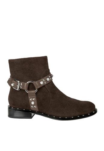eq:iq brown eqCRYSTAL Studs-embellished Strap Boots EQ351SH0FJVTSG_1
