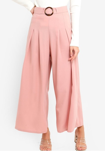 ZALORA pink Wide Leg Pants With Buckle Belt 8A7D4AA7BF75A6GS_1