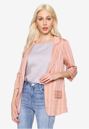 Hopeshow pink Embossed Stripe Single Button Blazer 69DC1AA009A335GS_1