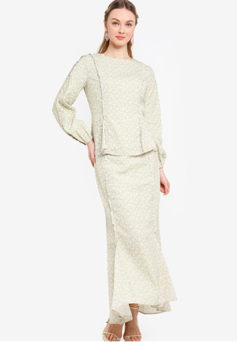 Lubna pink and green Frill On Sleeve with Godet Kurung 0CBBCAA54D3741GS_1