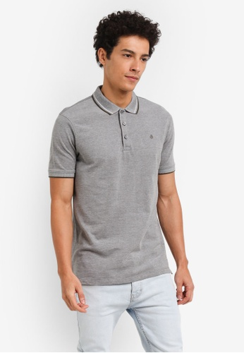 Burton Menswear London grey Two-Tone Pique Polo Shirt 122AAAAE15B6B8GS_1
