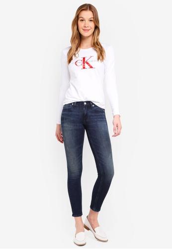 Calvin Klein white A-Satin Monogram Long Sleeve Tee - Calvin Klein Jeans FD56EAADB21335GS_1