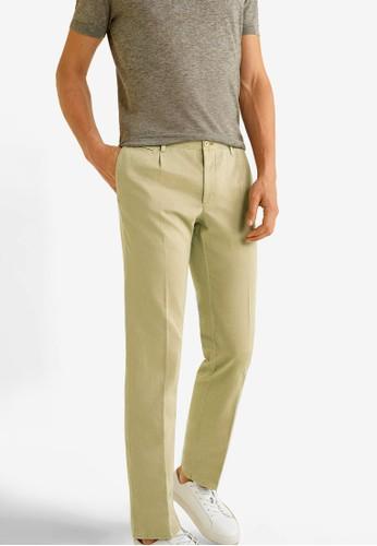 MANGO Man beige Regular-Fit Cotton Linen Trousers 15B7BAAE7D716CGS_1