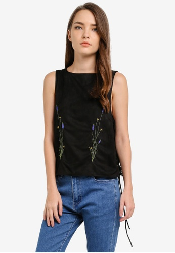 Something Borrowed black Embroidered Lace-Up Top A0ABCAAABAB071GS_1