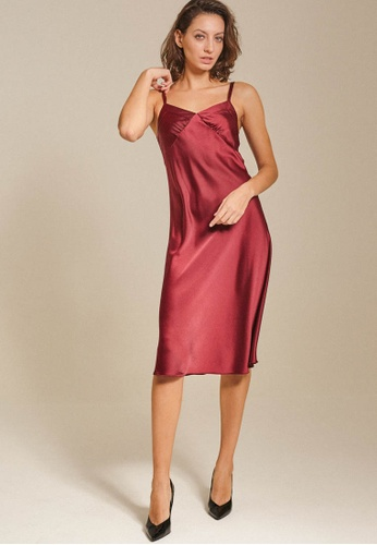 Dressing Paula red Satin Twill Midi Dress B609EAADD83FA5GS_1